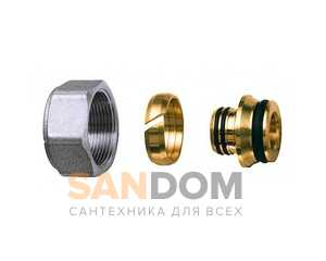 Фитинги FAR концовка для металлопластиковых труб (накидная гайка хром-трубная резьба под евроконус) Код: 6076