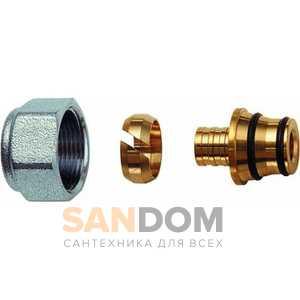 Фитинги FAR концовка для металлопластиковых труб (накидная гайка хром-метрическая резьба) Код: 6055