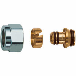 Фитинги FAR концовка для пластиковых труб (накидная гайка хром-метрическая резьба) Код: 6052
