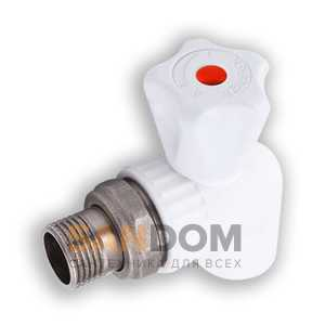 Кран шаровой PPRC д/радиатора с разъёмным соединением угловой (Valfex)
