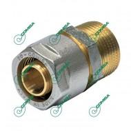 Переходник прямой с наружной резьбой для металлопластиковых и PEX труб (Фитинги винтовые MULTI-FIT Comisa)