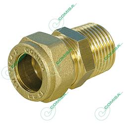 Соединитель прямой с наружной резьбой (цилиндрической) для медной трубы обжим (латунь) Comisa