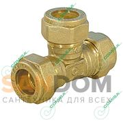 Тройник компрессионный равносторонний для медной трубы обжим (латунь) Comisa