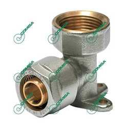 Угольник компрессионный настенный с внутренней резьбой для металлопластиковых и PEX труб (Фитинги обжимные MULTI-FIT Comisa)