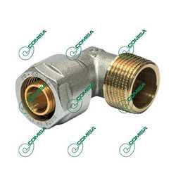 Угольник компрессионный с внешней резьбой для металлопластиковых и PEX труб (Фитинги обжимные MULTI-FIT Comisa)