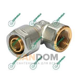 Угольник компрессионный с внутренней резьбой для металлопластиковых и PEX труб (Фитинги обжимные MULTI-FIT Comisa)