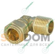 Угольник с наружной резьбой (конической) для медной трубы обжим (латунь) Comisa