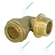 Угольник с наружной резьбой (цилиндрической) для медной трубы обжим (латунь) Comisa